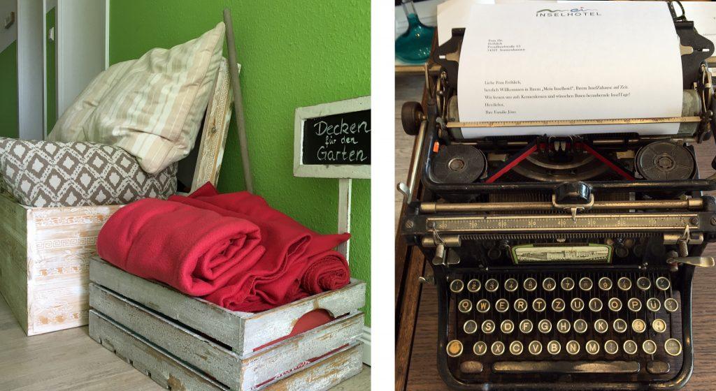 Decken für den Garten und eine alte Schreibmaschine im Hotel Mein Inselhotel auf Amrum